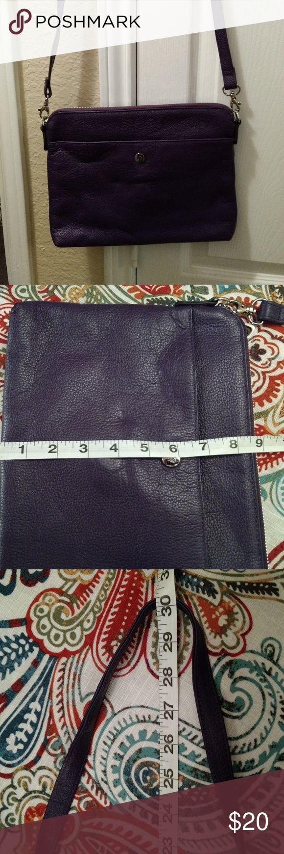 Grace Adele Tablet Tote / Crossbody - Purple/Grape Grace Adele Tablet Tote/Crossbody can hold a small tablet / ipad mini  (not for a large tablet). Measurements shown in pictures.  If used as a cross body, it will hold 3 cards in the interior(it is narrow) and 2 smaller pockets. 1 zippered pocket on the back exterior and 1 open pocket in the front.  The strap is not adjustable. The pic with the flower is purse jewelry that is available in a separate listing in my closet.  The flower is not…