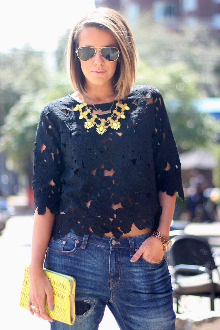 This laser cut top is everything for the Spring/summer - Courtney Kerr. I love the length of her hair!