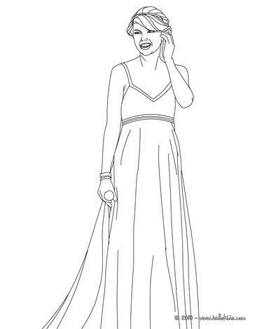 Taylor Swift with beautiful dress coloring page. More