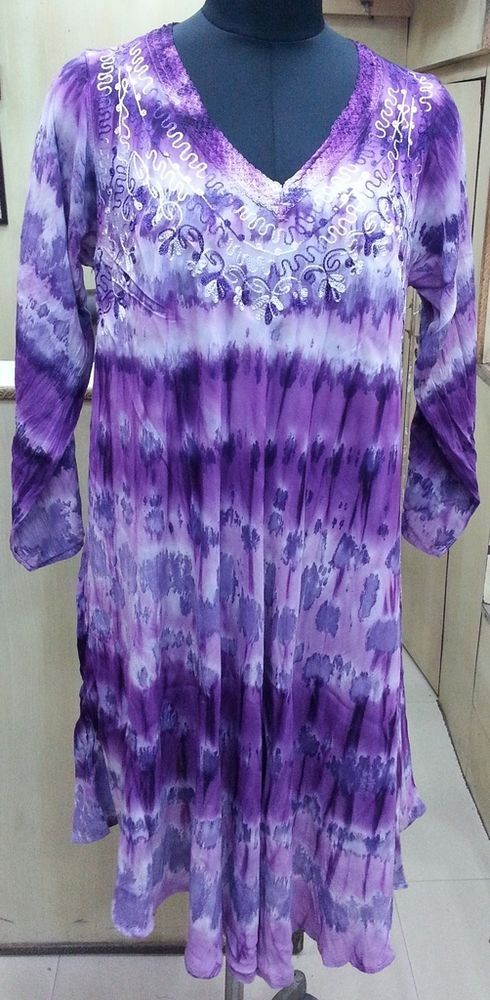 5 Piece Multi Colour Tie Dye Embroidered Rayon Viscose Rayon Long Sleeves Dress #Unbranded #Maxi #Casual