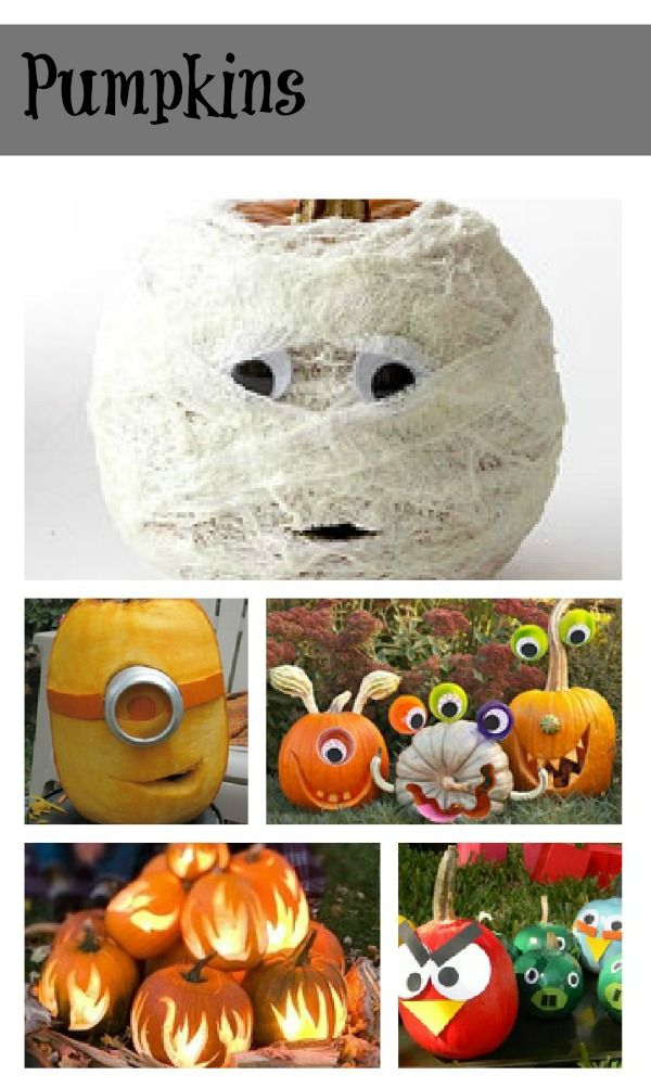 """So cute Halloween pumpkins...last """"Pin it"""" swear, had to do this one it has an angry bird section and also the crazy fun ones like cyclopes, too much fun ....GET ready ...get set,...and get HALLOWEENYING....BOO!"""