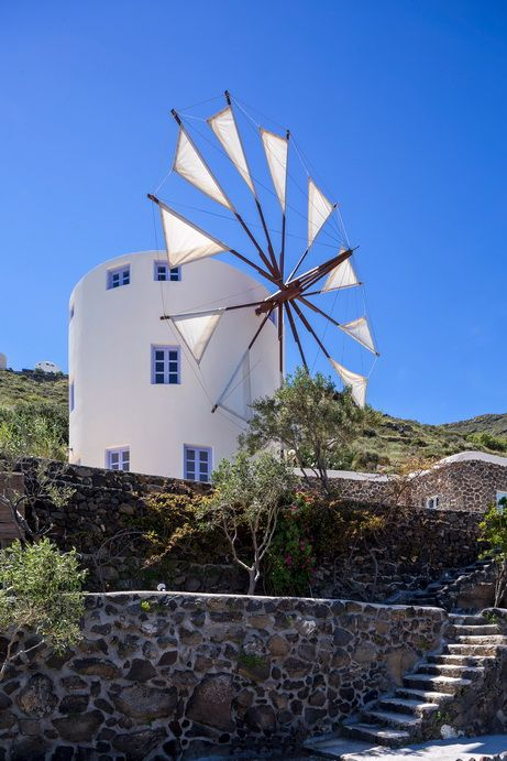 BLUE WINDMILL VILLA, SANTORINI (there are green and lilac too) Greece