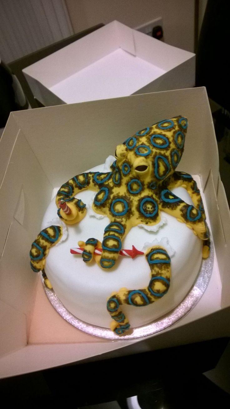 Blue-ringed octopus birthday cake for an Australian  Vanilla sponge with lime buttercream and fresh raspberries