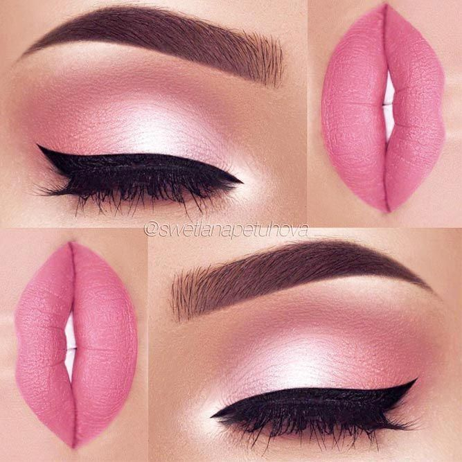 Makeup Idea In A Pink Color With Black Eyeliner Pinkmakeupidea A Pink Color Is Hot And Fun And Its Meaning Makes I Eye Makeup Eyeshadow Makeup Makeup Designs