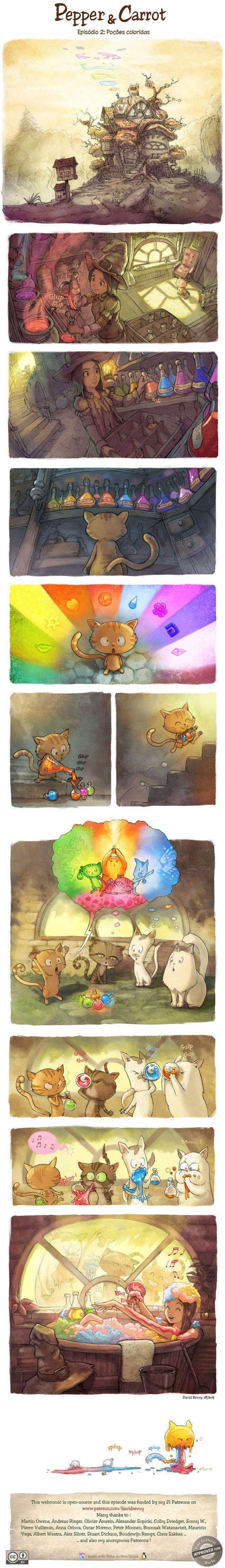 """Pepper & Carrot é a história de """"Pepper"""", uma jovem bruxa, e """"Carrot"""", seu gato de estimação. Os dois vivem em mundo de fantasia de poções, criaturas"""