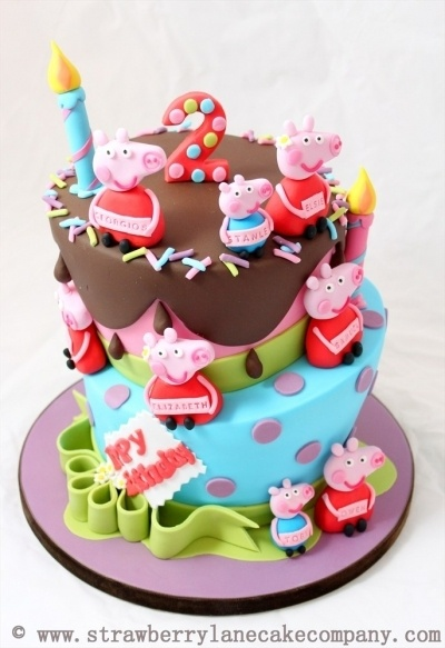 Peppa Pig and George Joint 2nd Birthday Cake for 6 babies By StrawberryLaneCakeCompany on CakeCentral.com