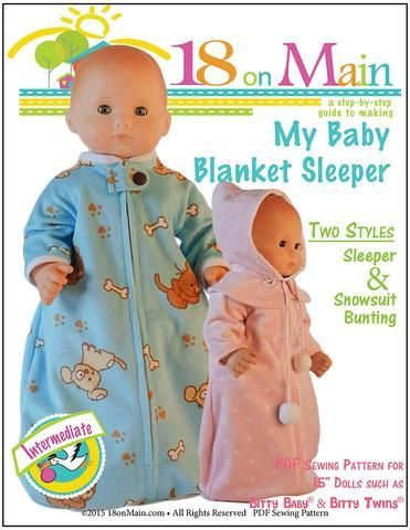 74f6e96872f 18 On Main My Baby Blanket Sleeper Doll Clothes Pattern 15 inch dolls such  as Bitty Baby®