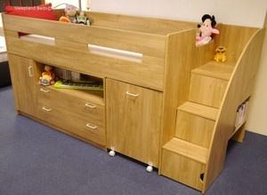 Oak Or White Childrens Mid Sleeper Beds - Midsleeper Cabin Bed Desk And Storage | eBay