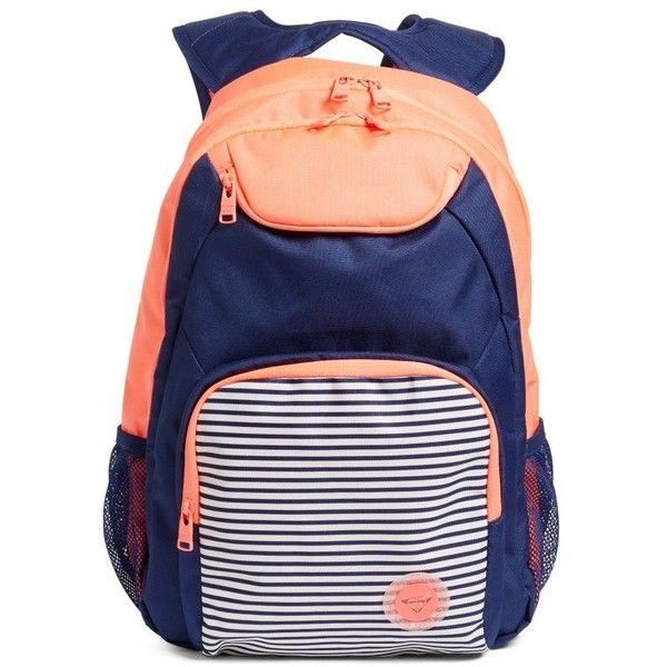 Women's Roxy Shadow Swell Backpack ($44) ❤ liked on Polyvore featuring bags, backpacks, neon grapefruit, backpack tote, laptop backpack, nautical backpack, nautical tote bags and tote handbags
