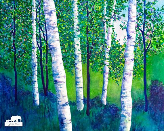 Watercolor Art Print. White birches amongst quaking by GinaLeeKim