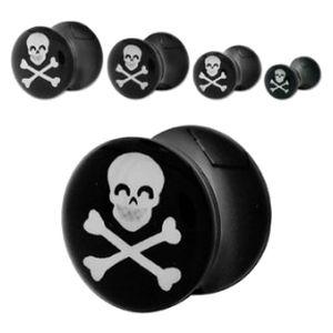 Style Sanctuary  - Black Acrylic Ear Plug with Skull