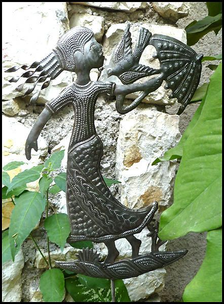 14 Garden Plant Stick  Girl with Umbrella Plant  -  Hand Hammered Haitian Recycled Steel Drum Art  - Haiti Metal Art   by HaitianMetal, $21.95