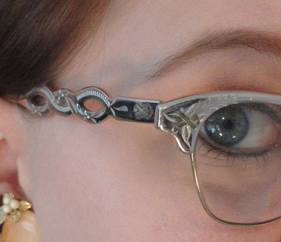 Engraved Copper Aluminum Vintage Eyeglass Frames 1950s!!! So cute!