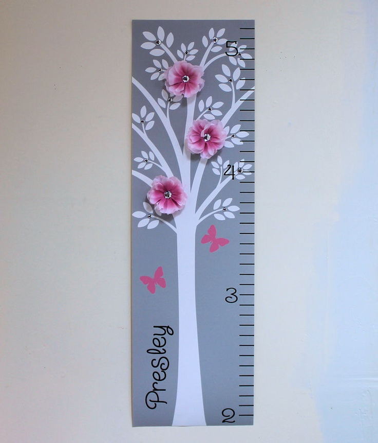 Canvas Growth Chart Modern Pink Grey Nursery.  Love the 3D flowers.  Use a lighter shade of pink and add a light aqua gem center. #brattdecor