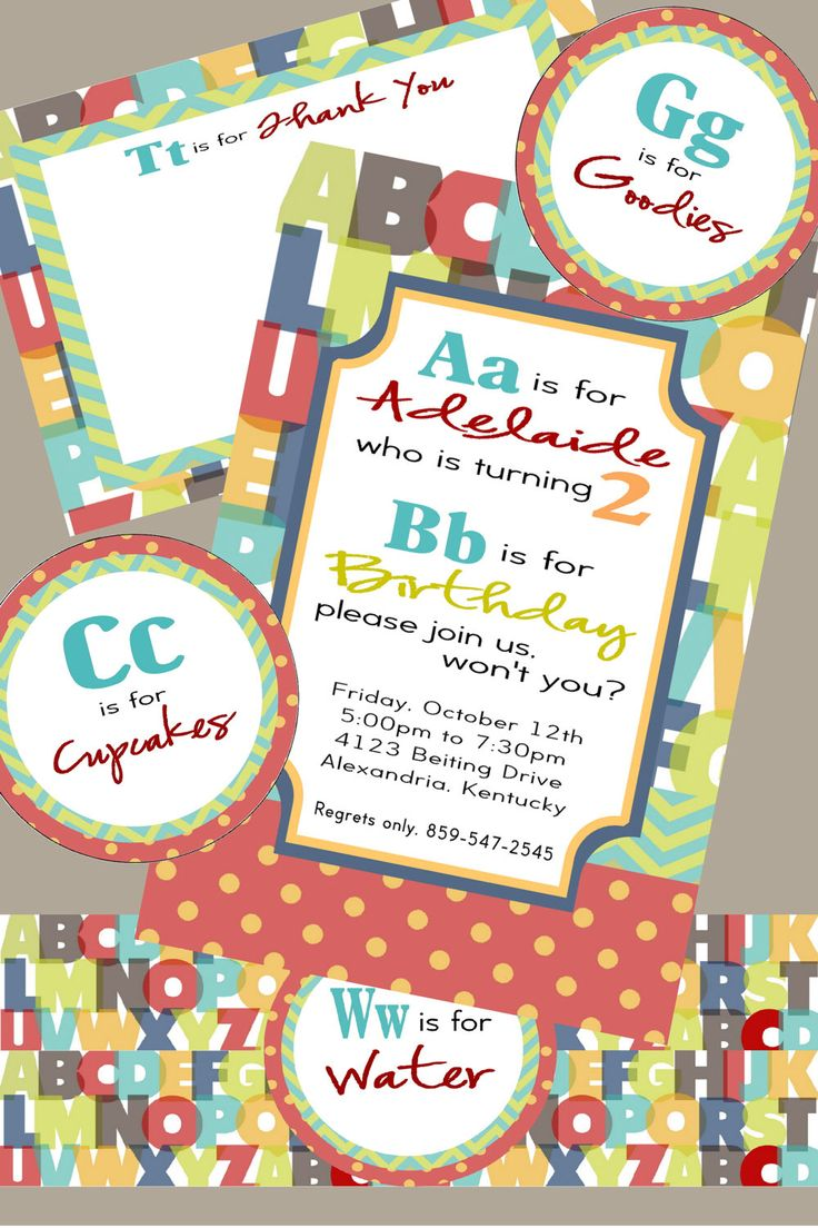 Alphabet Birthday Party Pack- invites, thank you's, goodie bag labels, water bottle labels, cupcake toppers by BluegrassWhimsy on Etsy https://www.etsy.com/listing/109026836/alphabet-birthday-party-pack-invites