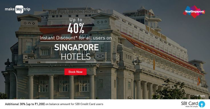 Up to 40% Instant Discount + Additional 30% Cashback to Card on balance amount (max INR 1,200) on Singapore Hotel bookings with SBI credit cards Up to 40% instant discount for all users; Add...