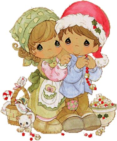 Precious Moments Boy & Girl Christmas Picture