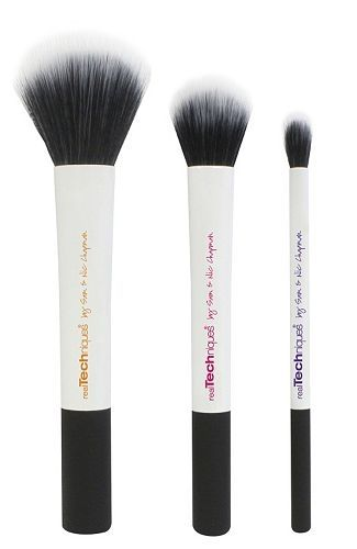Use these Real Techniques makeup brushes to create buildable color from light to dense.