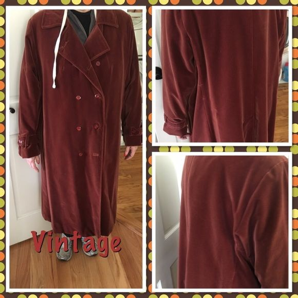 Vtg Rust colored velvet coat. FINAL This vintage coat does not have a size tag. It measures 24 inches from armpit to armpit, and 45 inches from shoulder to hem. It has no defects, no stains or tears. Color is a rust/brown. THIS CANNOT BE BUNDLED SINCE THE COAT IS HEAVY. REASONABLE OFFERS WELCOME  Thanks for stopping by my closet Roamans brand Vintage Jackets & Coats