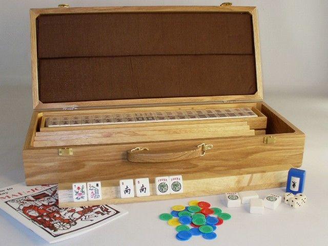 American Mah Jong Set w/Oak Case, beautiful oak carrying/storage case, complete set, beautiful gift on sale! http://www.thegamesupply.com/mahjong-sets, #mahjonggames #mahjonggsets