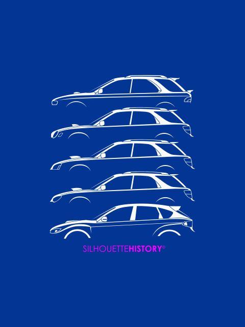 Six Stars HatchSilhouetteHistorySilhouette series of 5-door Subaru Impreza WRX generations.  Home | FB | Instagram | Twitter | Shop