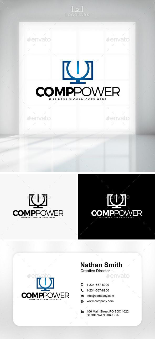Comp Power Logo (Vector EPS, AI Illustrator, Resizable, CS, app, brand, business, company, computer, computer repair, corporate, desk, energy, hardware, identity, logo, pc, personal computer, power, software, technology)