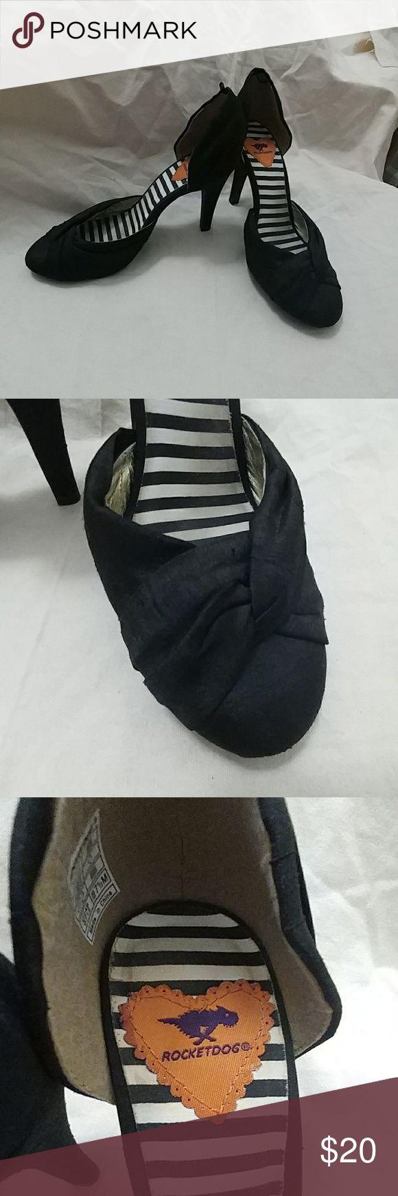 Rocket Dog Black Retro heels Rocket Dog Black Retro heels. Raw satin fabric, size 7.5. Only worn 2-3 times. Rocket Dog Shoes Heels