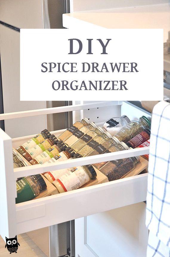 Diy Spice Drawer Organizer Insert Video Kitchen Organization