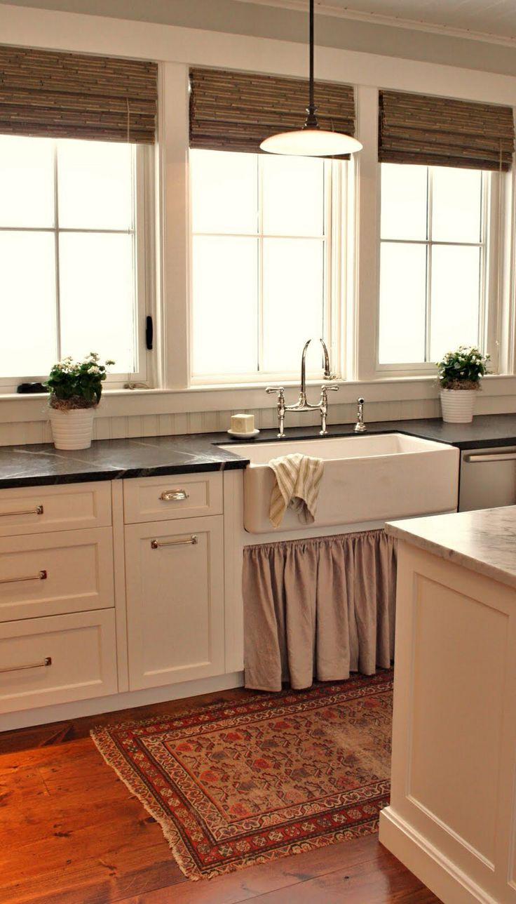 benjamin moore white dove beadboard ceiling amp backsplash soapstone counter tops linen skirted farmhouse sink and polished nickel perrin and rowe sink : sink windows window love