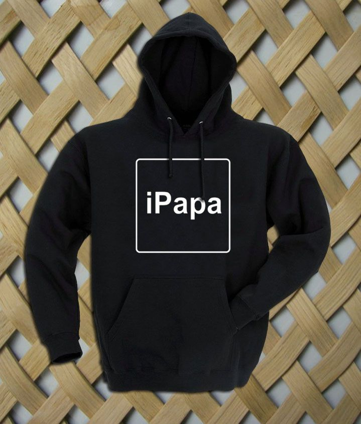 iPapa Hoodie Hooded Sweatshirt  8.0 oz., 50/50 cotton/polyester Reduced pilling and softer air-jet spun yarn Double-lined hood with matching drawcord (adult style only) 1×1 athletic rib kint cuffs and waistband with spandex Double-needle stitching throughout Front pouch pocket. size: S,M,L,XL. color:black,gray,white,maroon.