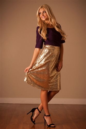Sparkle and shine this holiday season in our all over sequin Gold New Year's Eve modest aline skirt! Skirt is fully lined with side zipper closure.