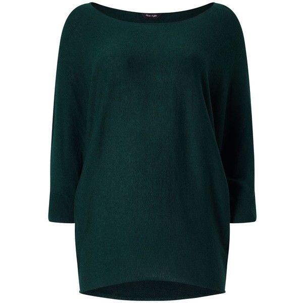 Phase Eight Becca Batwing Knit Jumper (£59) ❤ liked on Polyvore featuring tops, sweaters, green, women, blue jumper, green top, blue knit top, blue top and knit jumper