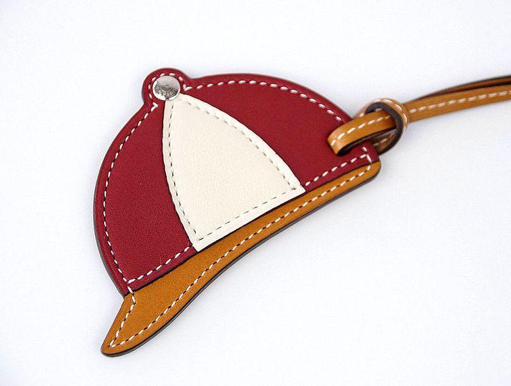 HERMES Paddock Bombe Equestrian Helmet Tri-Color Large Bag Charm
