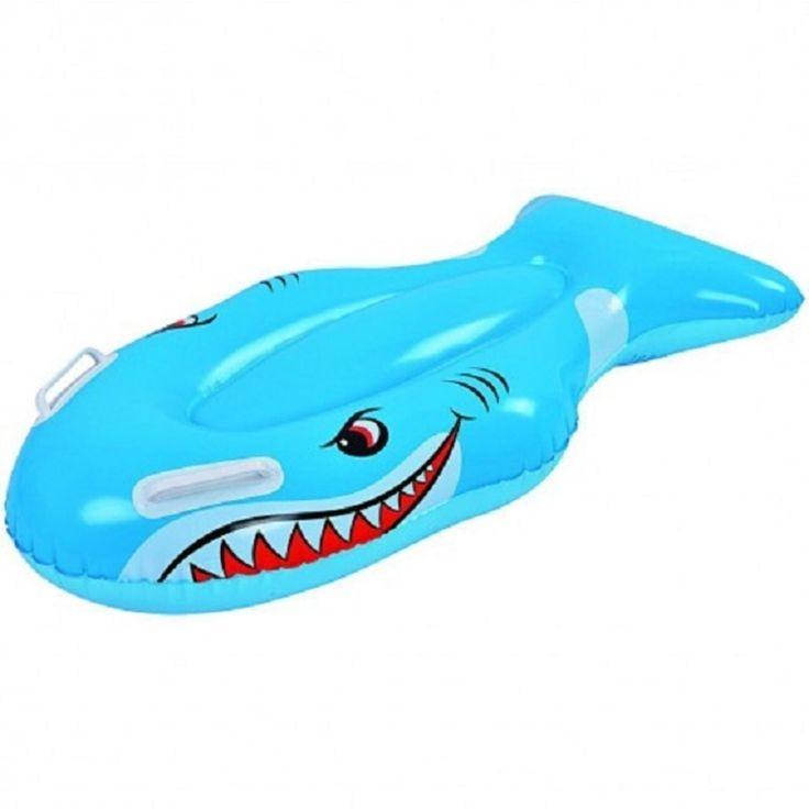 "Jilong 39"" Blue and White Kids Inflatable Shark Kick Board 32148195"