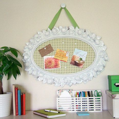 DIY:  Extremely unattractive plastic mirror gets a facelift & is repurposed into a bulletin board. Tutorial.