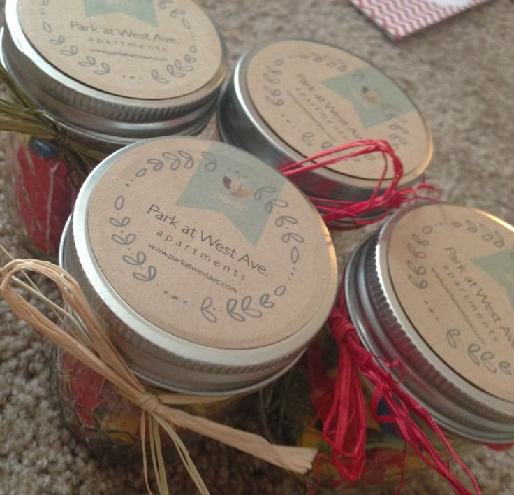 Mason Jars Filled With Candy As A Marketing Gift For Apartments Logo Labels