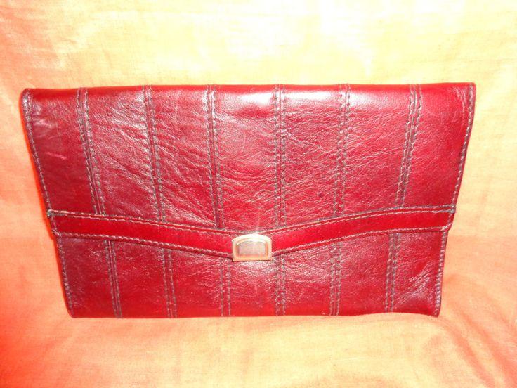 Vintage Clutches - Tasche*Vintage*Leder*bordeaux*clutch*rot* - ein Designerstück…