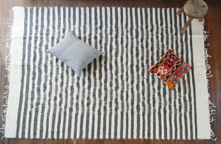Large Goat Hair Rug - Grey and Cream Stripe -  $990 AUD