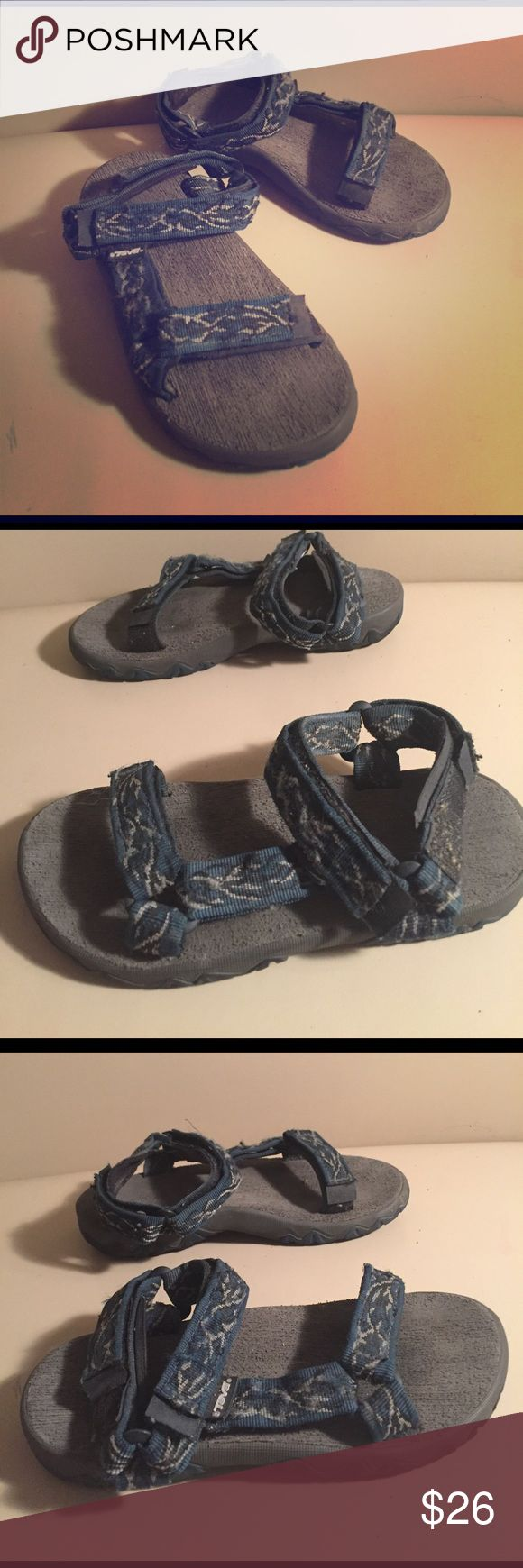 Blue Black Teva Kids Sports Sandals Size 3 Black and blue kids Teva Sports Sandals Size 3. Good used condition but could be clean some. Plenty of wear left in them. Please see pictures. Teva Shoes Sandals & Flip Flops