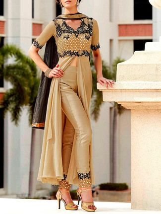 Buy Durga Emporio beige georgette  Online, , LimeRoad