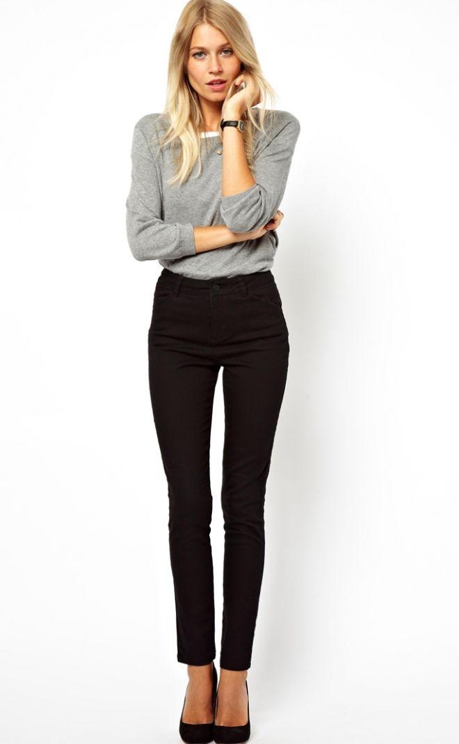 Jeans Asos - taille haute et coupe moulante - noir