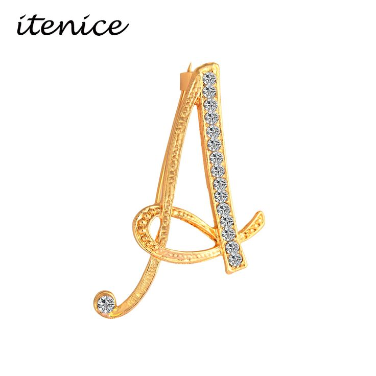 Itenice 2017 New Fashion Jewelry Classic 26 Letters Brooches Metal Gold Plated Crystal Pins Clothing Accessories For Women