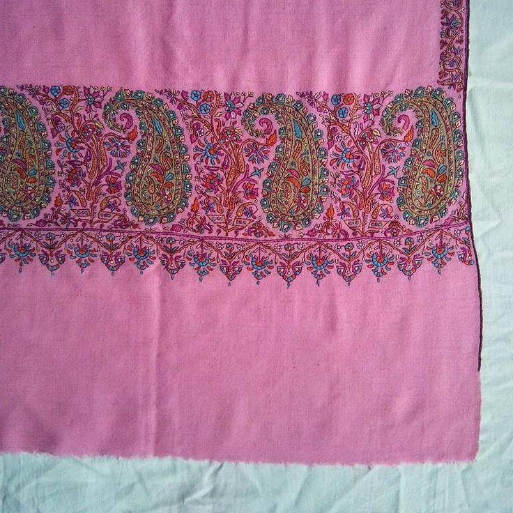 Paladar two sided embroidery needle work on pure cashmere pashmina Kashmir handmade