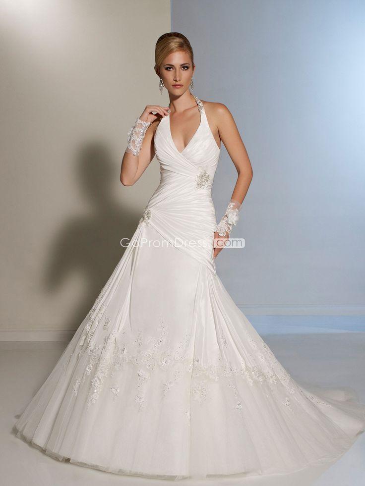 Taffeta Brooch Halter A line Wedding Dress 80