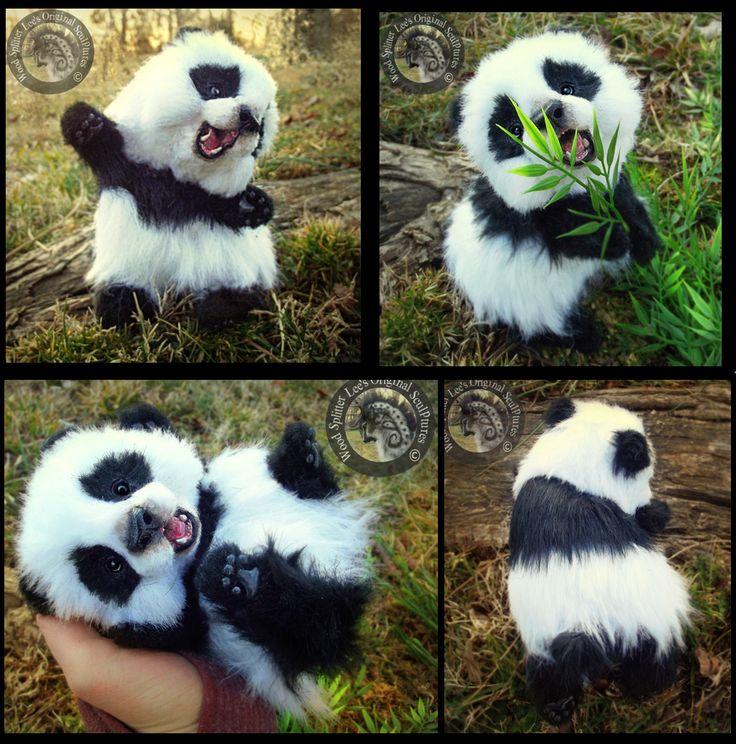 HAND MADE Poseable Baby Panda! by Wood-Splitter-Lee.deviantart.com on @deviantART-- OMG This panda baby is so FREAKIN CUTE!! Too bad I'm too poor to get it... PANDA!!!