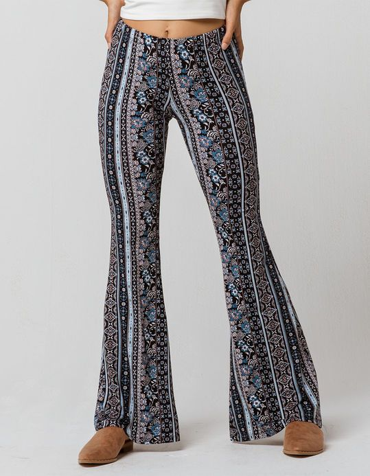 390fb844dcb0e SKY AND SPARROW Mixed Linear Print Womens Flare Pants | Cold Weather ...
