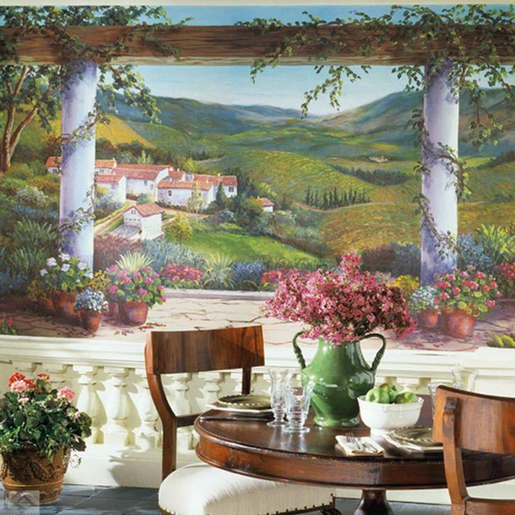 Pictura murala tapet Italian Villa este cu adevarat deosebita! Locul unde boemul se impleteste perfect cu frumusetea naturala dand nastere celei mai frumoase opere de arta!  #muralpicture, #wallpaper