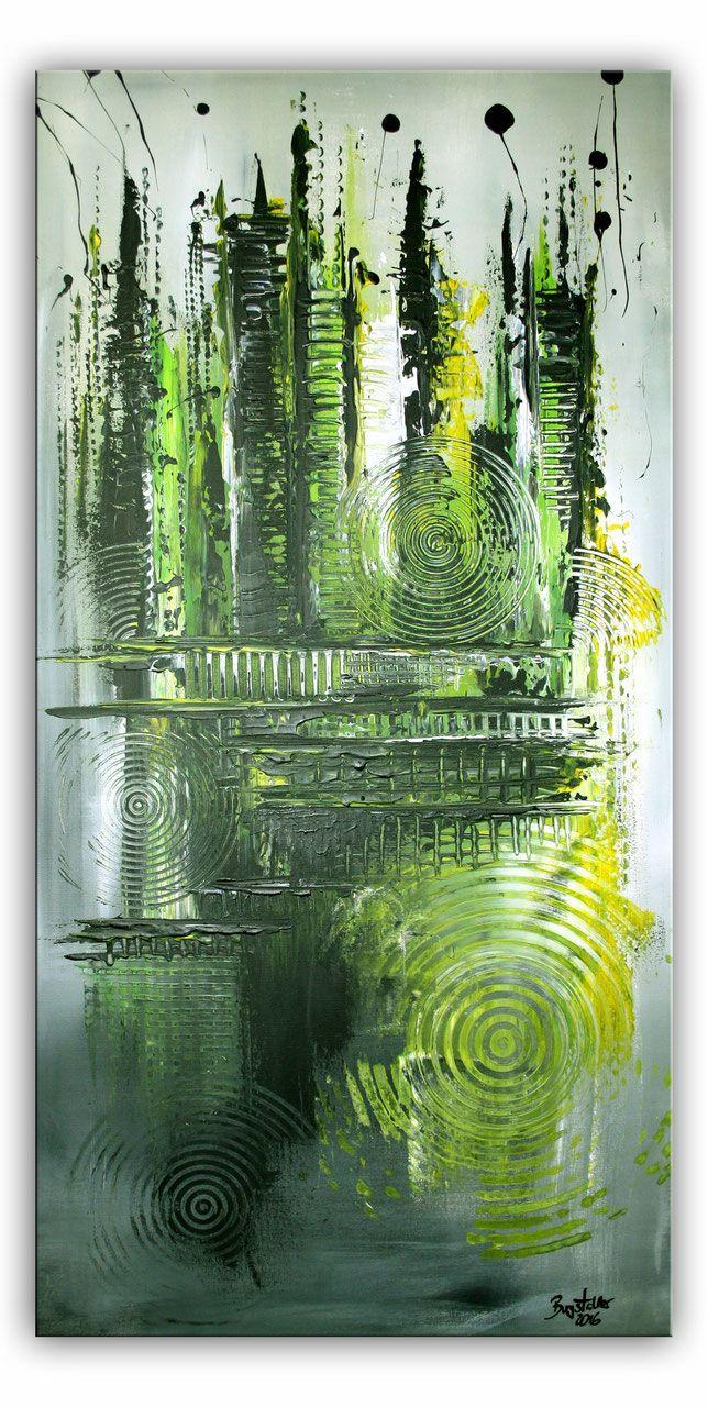 abstrakte malerei grun rosa leinwandbild unikat abstrakt stier gemälde kunst bilder kaufen