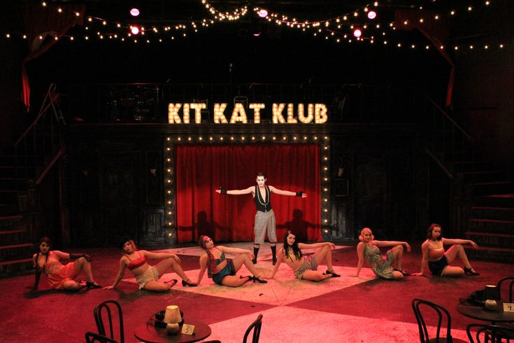 """Gustavus Adolphus College February 2018 Kander & Ebb's """"Cabaret"""" Led Makeup Tutorial for the Kit Kat Klub Dancers (left to right: Fritzy, Frenchie, Rosie, Lulu, Texas, Helga)"""