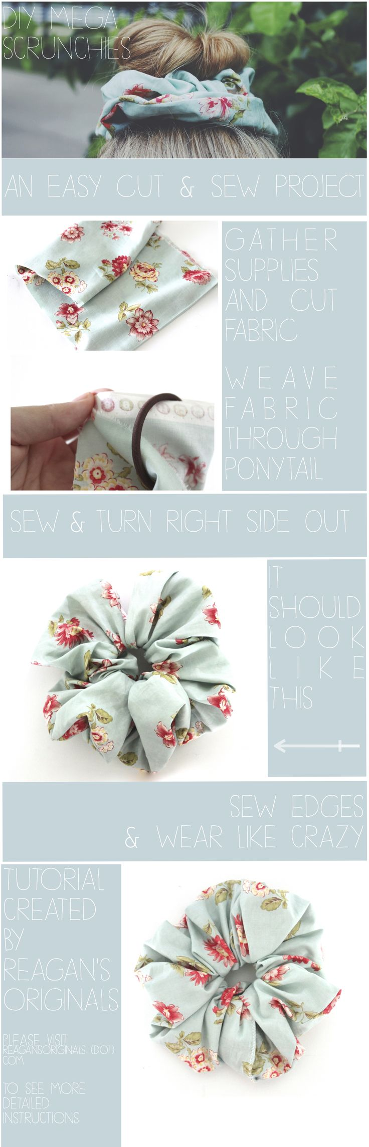 """DIY Scrunchies. """"I have made scrunchies before. But these really aren't the same. you'll just have to trust me."""""""